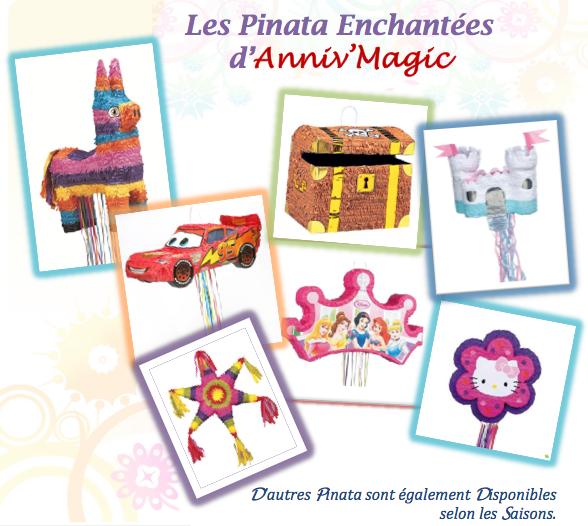 Pinata d'AnnivMagic pour une décoration et une fête originale : licorne, coffre fort, château, hello kitty, princesse, cars