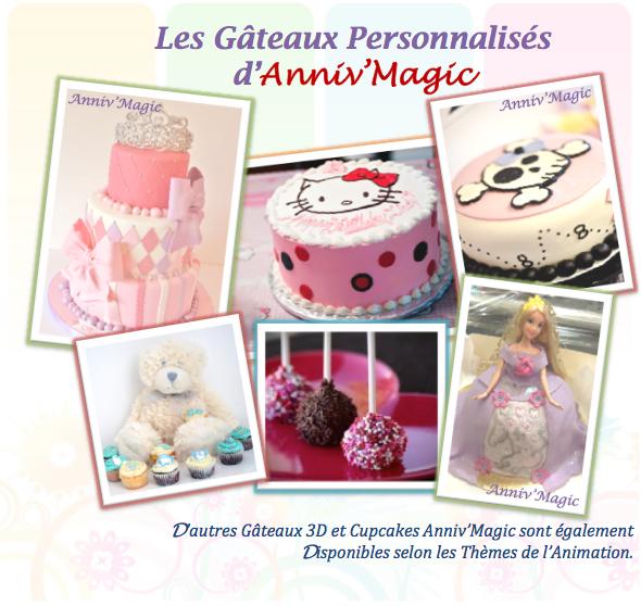 Gateau 3D pour anniversaire et cupcake pour enfant : thème princesse, hello kitty, cars, spiderman