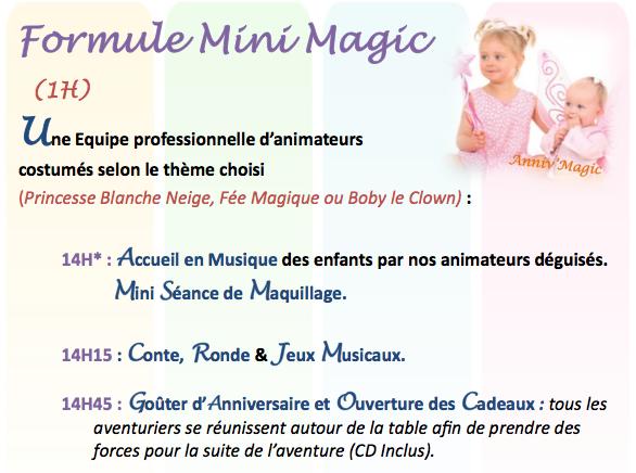 Anniversaire pour enfant 1 an et 2 ans, formule mini magic