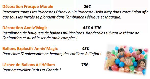 Anniversaire pour enfant : option : ballon, décoration, pinata, princesse, structure gonflable