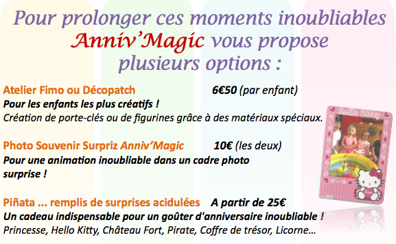 Anniversaire enfant les options d'Anniv'Magic : photo souvenir, atelier, structure gonflable