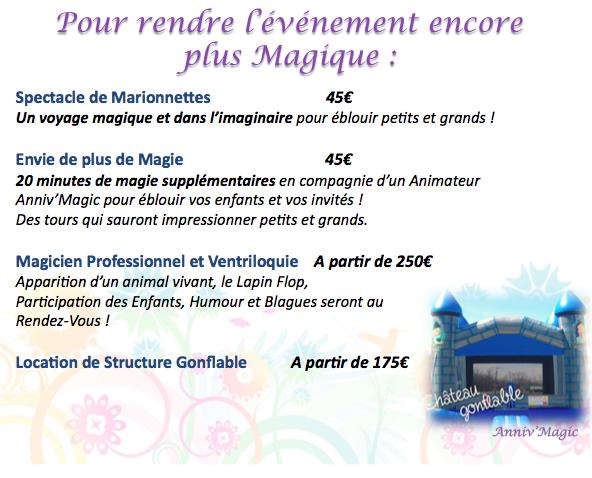 En option, spectacle pour enfant : magie, marionnette, événement, structure gonflable, magicien
