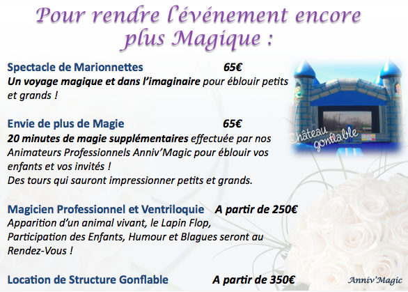 option pour événement anniv magic