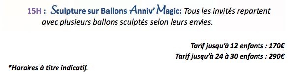 Tarif pour la formule mini magic, pour enfant 1 an et 2 ans