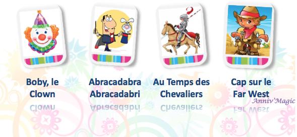 Anniversaire enfant avec theme : magicien, chevalier, fée, ovni, clown, mascotte