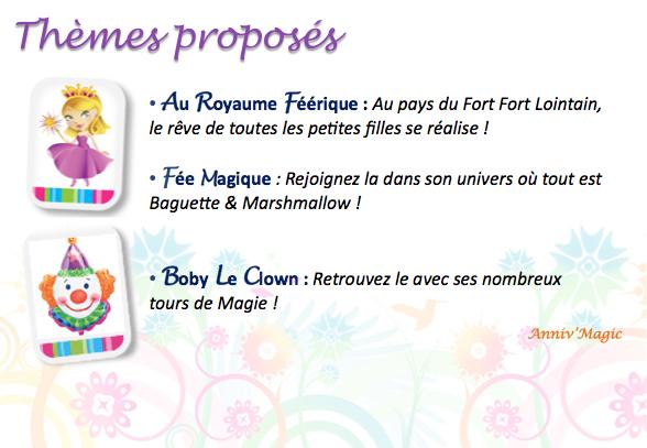 Thème proposé pour les enfants de 1 an et 2 ans : fée, princesse et clown