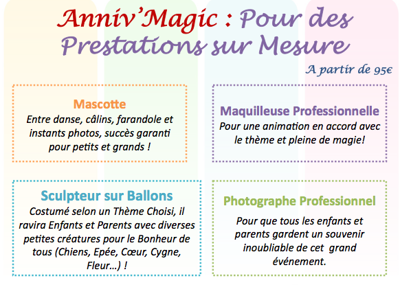 Photographe, maquilleuse, mascotte, spectacle